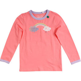 By Green Cotton Fred's World Hello Rainbow Langarmshirt Coral