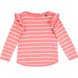 By Green Cotton Fred's World Stripe Langarmshirt Coral Baby