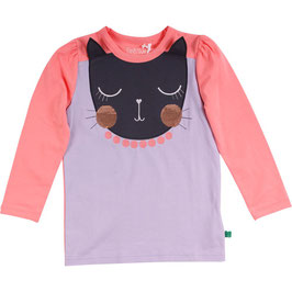 By Green Cotton Fred's World Cats front Langarmshirt Lavender