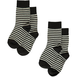 Maxomorra Socks 2-pack Stripes Black