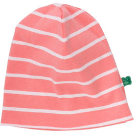 By Green Cotton Fred's World Stripe Beanie Coral *Aktion*