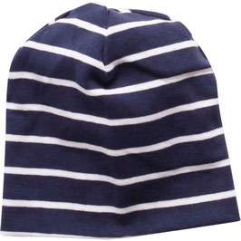 By Green Cotton Fred's World Stripe Beanie Navy
