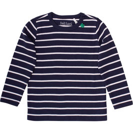 By Green Cotton Fred's World Stripe Navy Langarmshirt