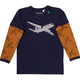 By Green Cotton Fred's World Langarmshirt Airplane layer Desert Brown