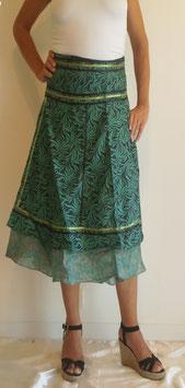 Jupe mi longue en pure soie Verte et noire/ verso turquoise fleuri, Réversible et rubans