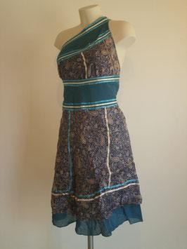 Jupe mi longue en pure soie Bleue nuit et motifs / verso turquoise en coton, Réversible