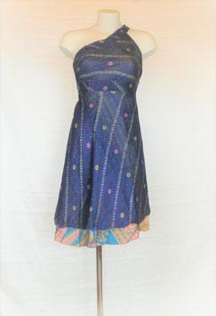 """Jupe Mi-longue 100% soie Bleu nuit verso beige et bleu """"spécial couture"""""""