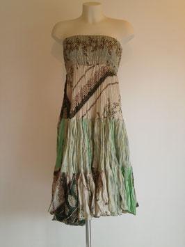 Jupe 360° Beige clair et verte en pure soie