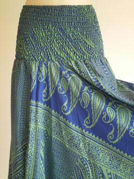 Sarouel Bleu foncé et vert en soie mixée
