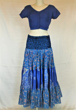 Jupe 360° Bleu ciel d'azur en soie mixée - Spécial Couture