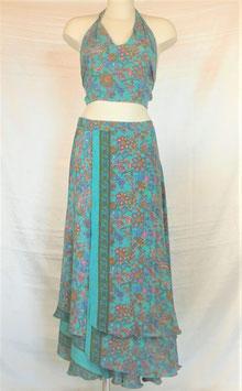 Jupe Longue + Top Turquoise fleuri