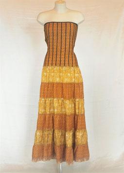 Robe Gypsy Corset Libéré Marron clair et jaune