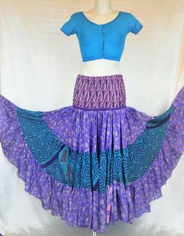Jupe 360° Violette et bleue en soie mixée - Spécial Couture
