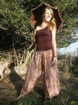 Pantalon Bouffant Rose en soie
