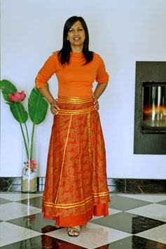 jupe longue orange ruban Ashika