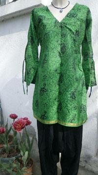 Tunique en soie mixée V & L Verte batik