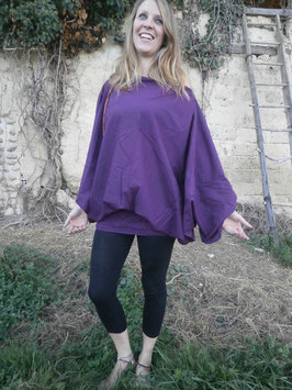 Sarouel 3 in 1 en coton Violet Prune foncé