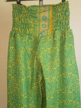 Pantalon Bouffant Jaune et vert en soie mixée