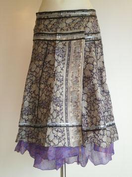 Jupe mi longue en pure soie Bleu nuit fleurie/ verso violet et doré, Réversible et rubans
