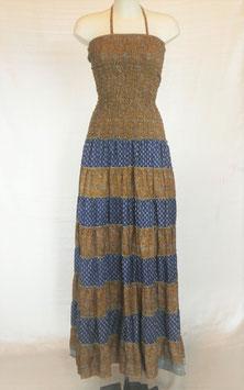 "Robe ""Raj Pan 12"": Marron et Bleu- bustier marron"