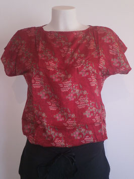 Top en pure soie Rouge