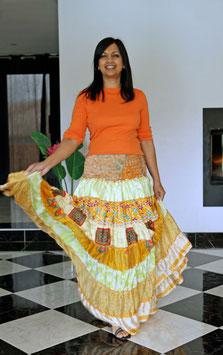 Jupe Raj Ashika jaune en soie