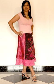 jupe mi-longue soie mixée