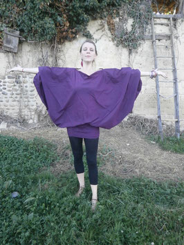 Sarouel 3 in 1 en coton violet foncé