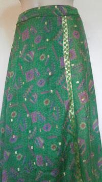 Jupe Longue en soie mixée Verte/crépon scintillante porte feuille réversible