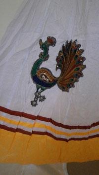 Jupe Aditya Blanche et jaune+Broderies de paons