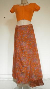 Jupe Longue en soie mixée Orange/marron scintillante porte feuille non réversible