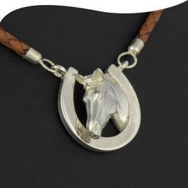 Collier • Pferdekopf mit Hufeisen  • Leder & Silber