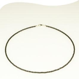 Lederband • schwarz • Ø 2,5mm • Karabiner • Silber