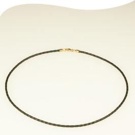 Lederband • schwarz • Ø 2,5mm • Karabiner • vergoldet