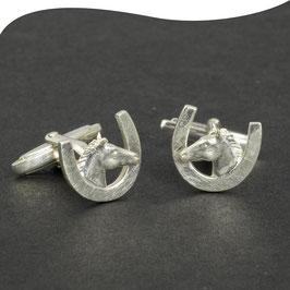 Manschettenknöpfe • Pferdekopf mit Hufeisen • Silber • massiv & 3D