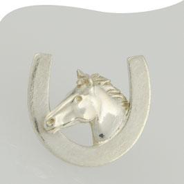 Pin Stick • Pferdekopf mit Hufeisen • Silber