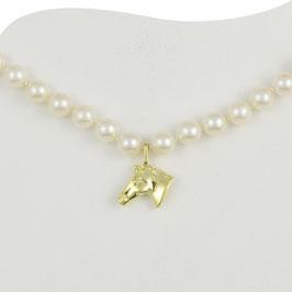 Perlenkette mit goldenem Pferdekopf