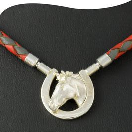 Mittelteil mit Band • Pferdekopf mit Hufeisen  • Silber • Wechselverschluss