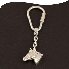 Schlüsselanhänger • Pferdekopf • massiv & 3D • Silber • Sterling • Schraubmechanik