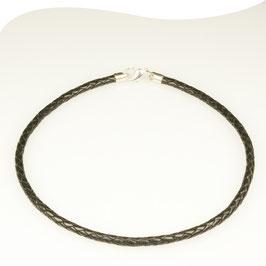 Lederband • schwarz • Ø 5mm • Silber • Karabiner