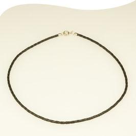 Lederband • schwarz • Ø 2,5mm • Federring • Silber