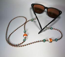 Brillenkette, türkis/braun