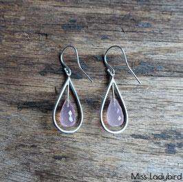 Boucles d'oreilles goutte en quartz rose