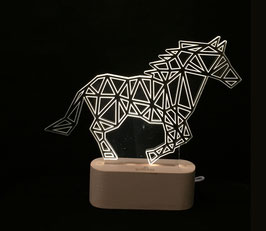 CHEVAL LAMPE D'AMBIANCE BASE BOIS HELIOS LED