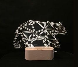 OURS LAMPE D'AMBIANCE BASE BOIS HELIOS LED