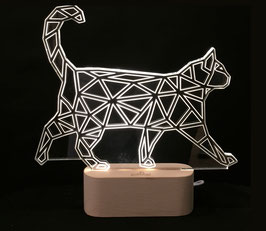 CHAT LAMPE D'AMBIANCE BASE BOIS HELIOS LED