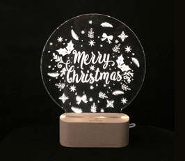 """MERRY CHRISTMAS"" NOÊL LAMPE D'AMBIANCE BASE BOIS HELIOS LED"