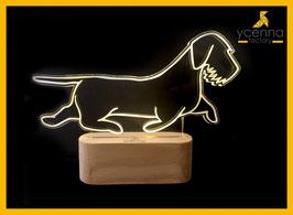 TECKEL RÉALISTE LAMPE D'AMBIANCE BASE BOIS HELIOS LED