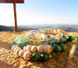 Mala aus Holz, Aventurin, Türkis und Bergkristallperlen mit Anhänger zum Auswählen