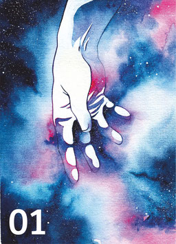 Postkarten Galaxy Hands